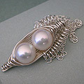 two White pearl Peapod Necklace