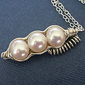 three White pearl pea in a pod pendant