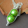 two Green freshwater Pea pod Necklace