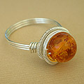 wire wrapped amber ring