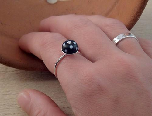 black and white polka dot ring