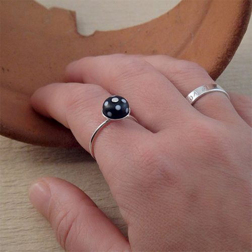 black and white polka dot ring