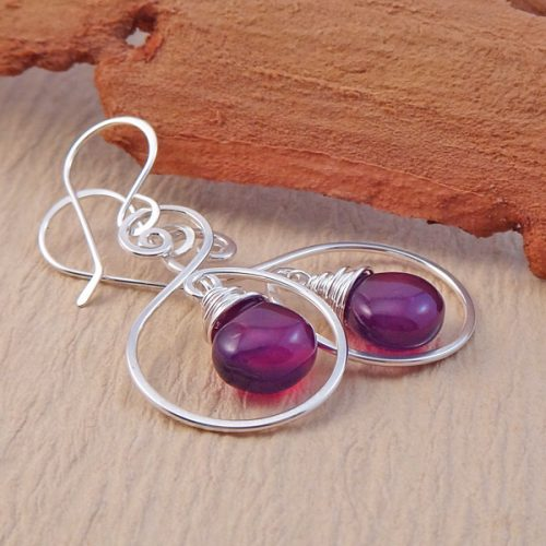 purple spiral earrings